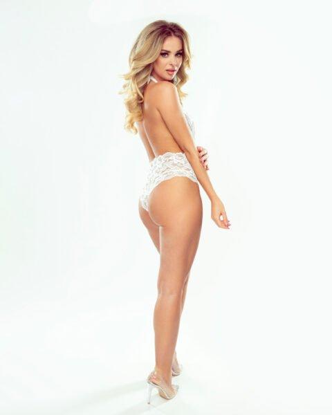 Olivia białe koronkowe body
