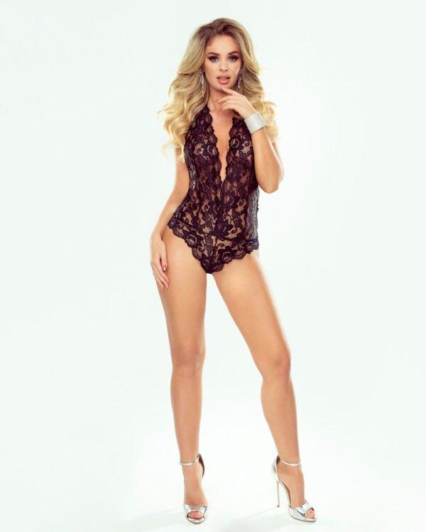 Olivia czarne koronkowe body