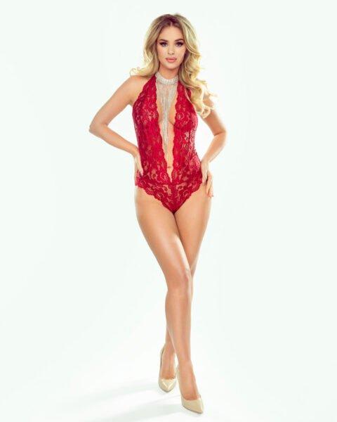 Olivia czerwone koronkowe body