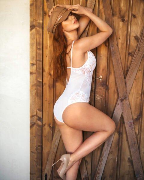 Sara białe koronkowe body