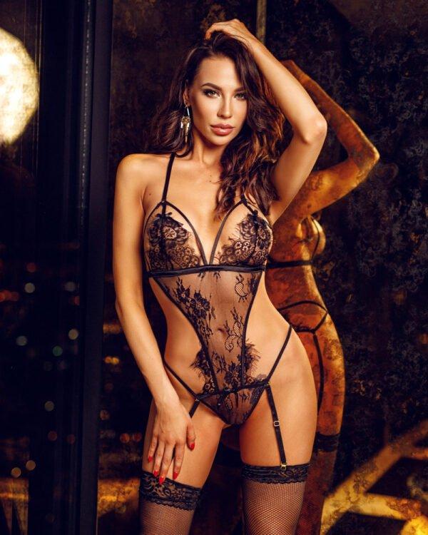 Tiffany czarne wiązane body